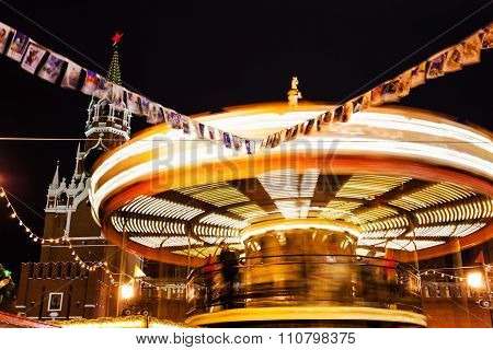 Illuminated Merry-go-round On Red Square On Moscow