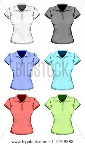 Women's short sleeve polo-shirt. Vector illustration