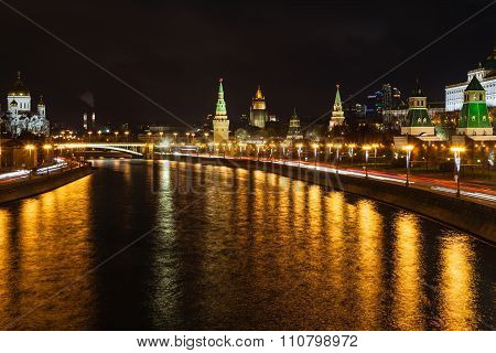 Illuminated Moskva River And Kremlin In Moscow