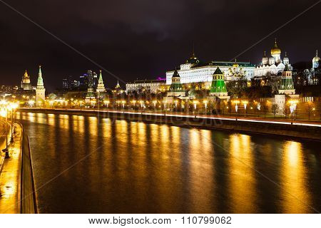 Illuminated Of Kremlin And Sofiyskaya Embankments