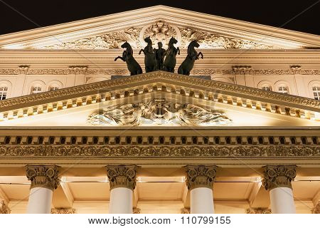 Fronton Of Bolshoi Theatre In Moscow In Night
