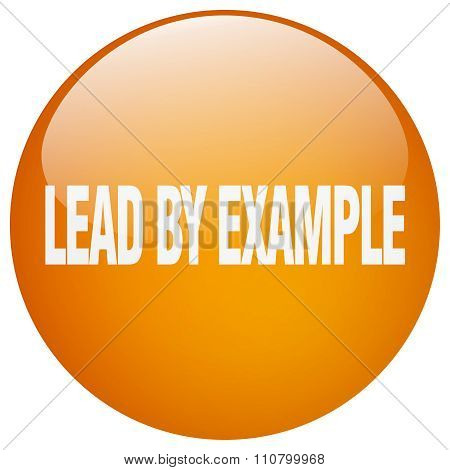 Lead By Example Orange Round Gel Isolated Push Button