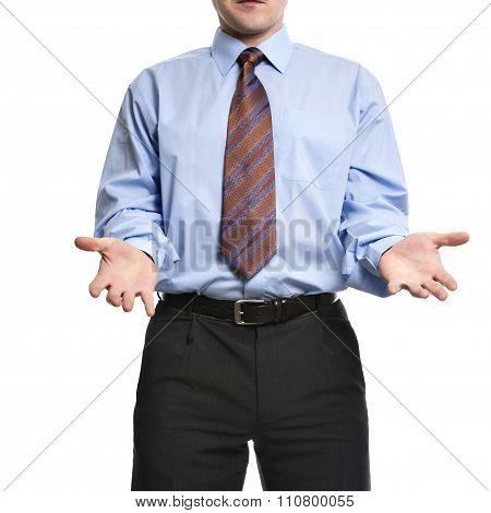Businessman Showing Both Empty Hands