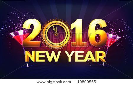 Shiny golden text 2016 with clock showing time for New Year celebration, can be used as poster, banner or flyer design.