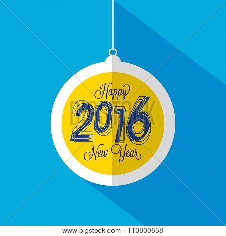 Elegant greeting card design with hanging ball on sky blue background for Happy New Year 2016 celebration.