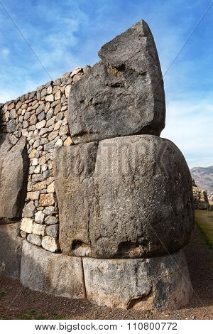 a large stone in the old Inca fortress