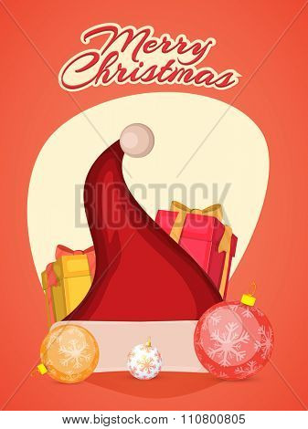 Creative Flyer, Banner or Pamphlet design with stylish ornaments for Merry Christmas celebration.
