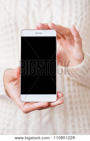 Woman In Knitted Sweater Holding Smartphone. Blank Display Of Cellular. Modern Device. Mock Up.