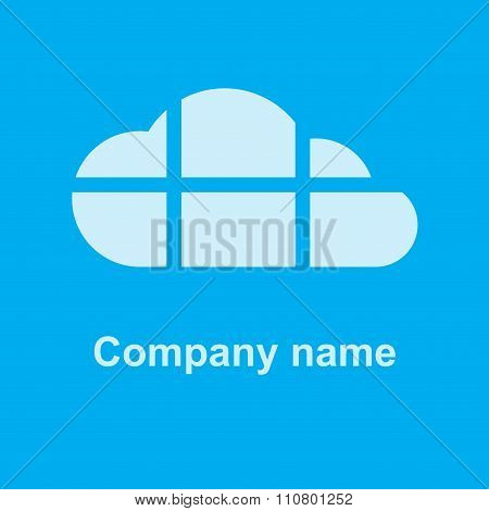 vector cloud on a blue background, the cloud is divided by horizontal and vertical lines can be used
