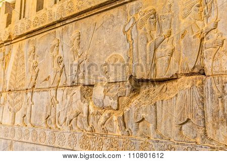 Residents of historical empire with animals in Persepolis