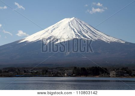 Mt. Fuji view from Yamanaka lake in Yamanashi Japan