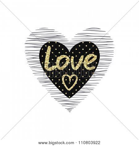 Texture heart with the word love of gold foil Valentine's Day.