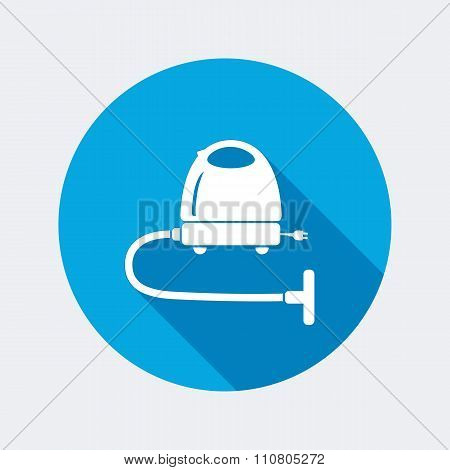 Vacuum cleaner, hoover icon. Home equipment. Electric appliance. Round circle flat icon with long sh