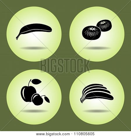 Food, fruits set. Banana, mandarin, apple icons. Black silhouette with shadow on light green round b