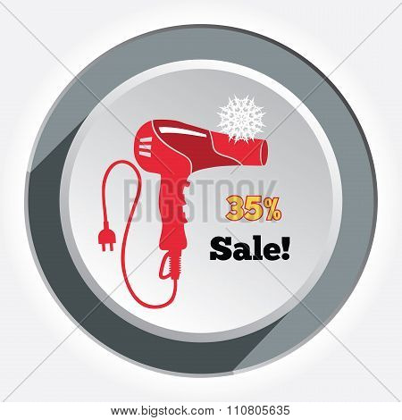 Professional red blow hairdryer and two-pin plug. Christmas sale label. Round circle white-gray butt