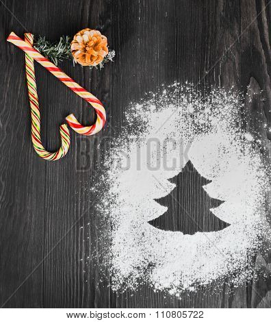 Flour And Powdered Sugar In The Form Of Christmas Trees