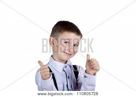 Happy Little boy with thumb up gesture