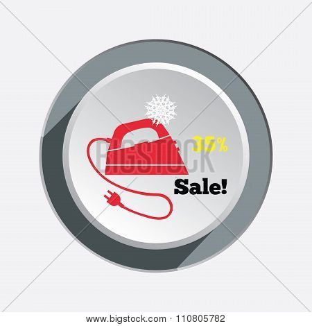 Iron christmas sale button with shadow. Electric appliance for dress smoothing symbol. Vector