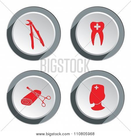 Teeth, dentist, stomatologist icon set. Medicine, health symbols. Round button with shadow. Vector