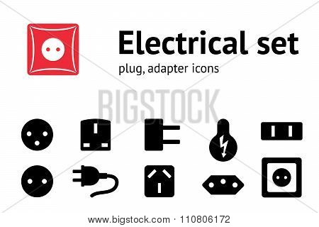 Electric plug, adapter, socket base icon set. Power energy symbol. Black icons on white. Vector isol