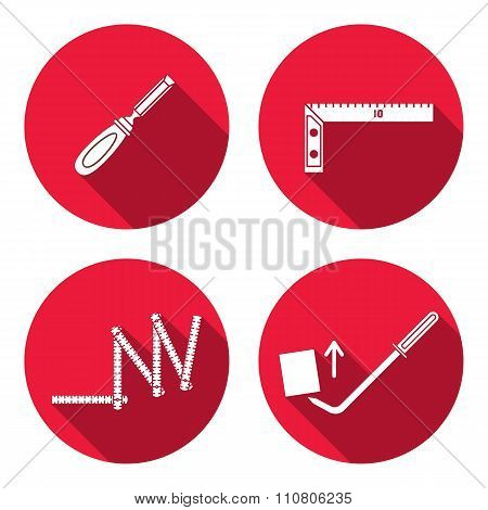 Tool icon set. Instrument for building. Folding rule, chisel, angle, scrap, pinchbar. Repair, fix, e