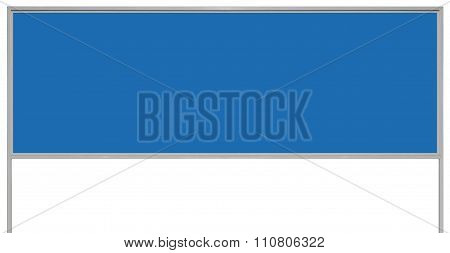 Blue Metal Ad Sign Board Signage, Isolated Blank Empty Roadside Advertising Billboard Copy Space