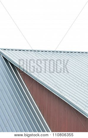 Industrial Building Roof Sheets, Grey Steel Rooftop Pattern, Isolated Riffled Roofing Panels, Large
