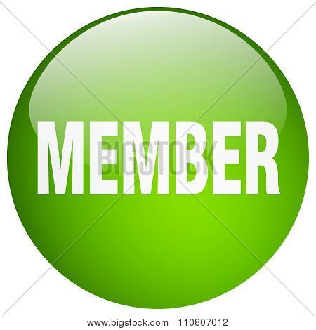 Member Green Round Gel Isolated Push Button
