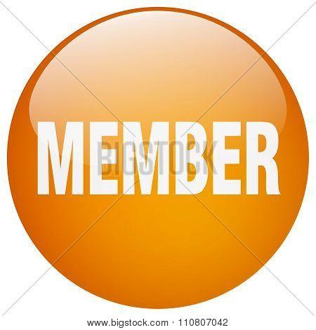Member Orange Round Gel Isolated Push Button