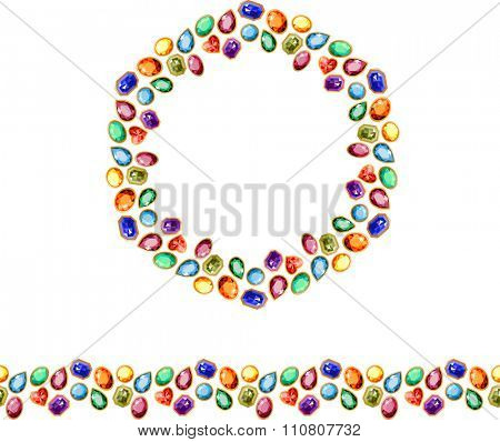 Template with gem stones and jewelry. Endless pattern brush and round frame