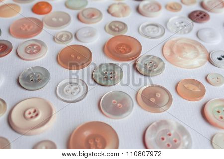 Colorful Button Collection On White Background