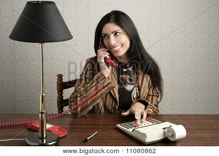 Accountant Retro Secretary Telephone Talking Woman