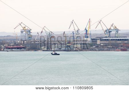 Views Of The Shipyard Zaliv In Kerch
