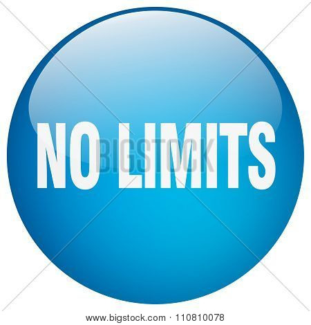 No Limits Blue Round Gel Isolated Push Button