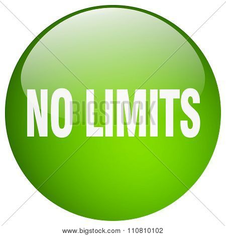 No Limits Green Round Gel Isolated Push Button