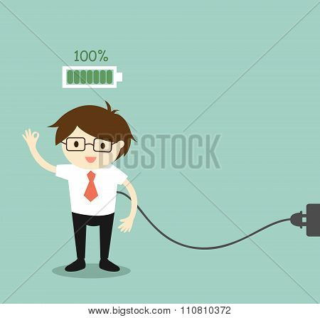 Business concept, Businessman with full battery.