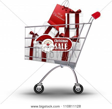 Christmas sale background with gift and bag trolley