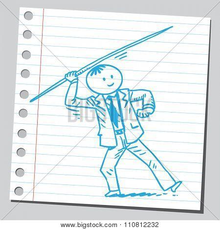 Businessman throwing  javelin