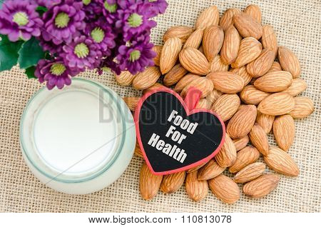 Almond With Milk Almond And Food For Health Tag.