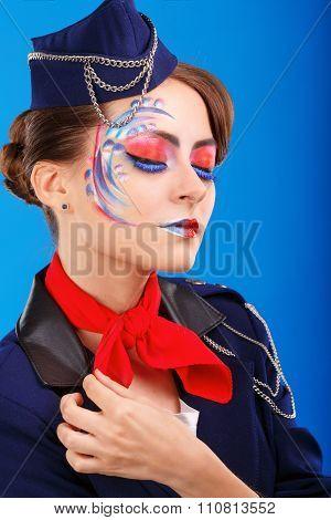 Stewardess With Face Art. Portrait.