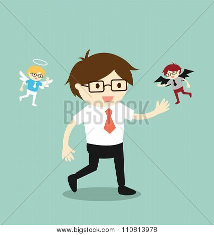 Business concept, Businessman with angel and devil.