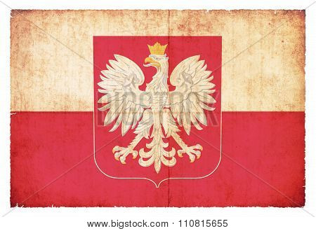 Grunge Flag Of Poland With Coat Of Arms