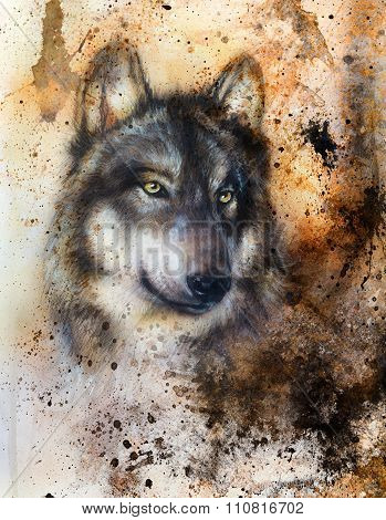alsatian dog, painting Abstract spots background, vintage variant.