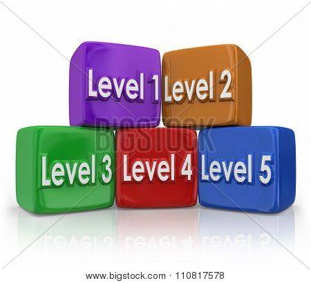 Level 1, 2, 3, 4, 5 on color cubes or blocks to illustrate stepping up to the next position or degree