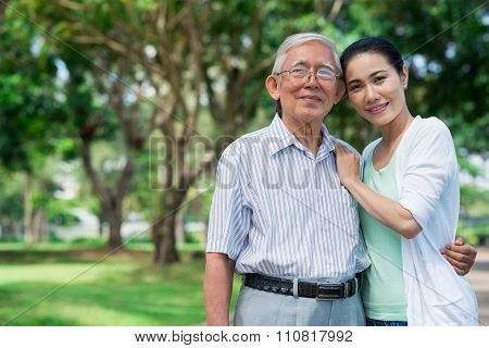 Senior father and his daughter