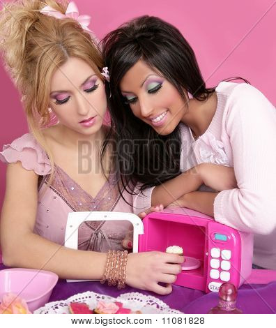 Fashion Girls Pink Microwave Sweets Kitchen