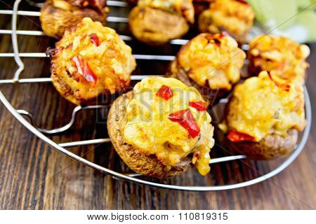 Champignons Stuffed With Meat On Lattice