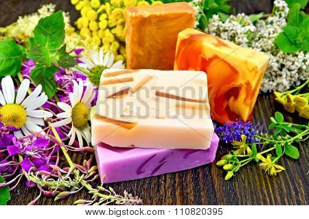 Soap Homemade With Flowers On Board