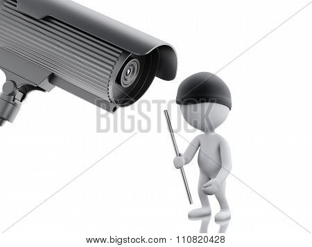 3D White People Thief And Security Cctv Camera.