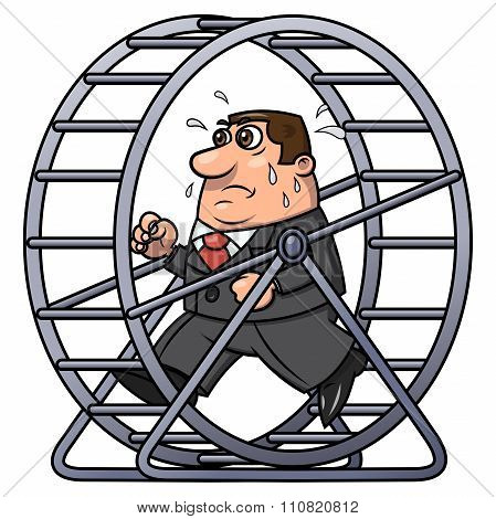 Businessman In A Hamster Wheel 2